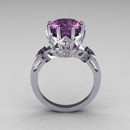 Modern Vintage 10K White Gold 3.0 Carat Lilac Amethyst Princess Diamond Solitaire Wedding Ring R303-10WGDLA-1
