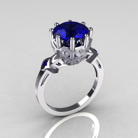 Modern Vintage 950 Platinum 3.0 Carat Blue Sapphire Diamond Solitaire Wedding Ring R303-PLATDBS-1