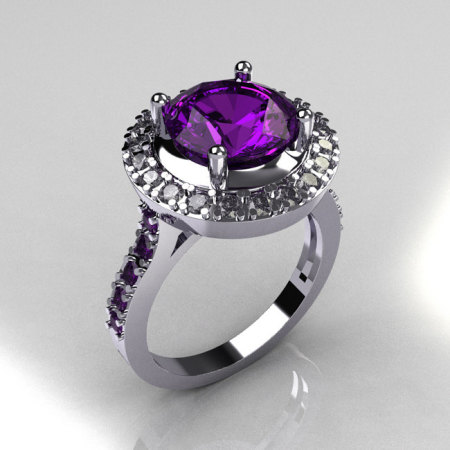 Legacy Classic 14K White Gold 2.5 Carat Amethyst Diamond Solitaire Ring R115-14WGDAM-1