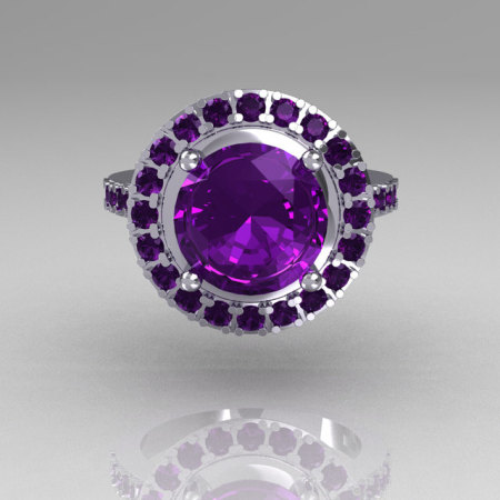 Legacy Classic 14K White Gold 2.5 Carat Amethyst Solitaire Ring R115-14WGAM-1