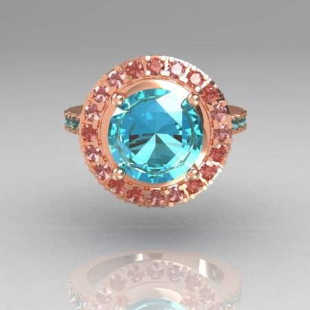 Legacy Classic 14K Rose Gold 2.5 Carat Aquamarine Diamond Solitaire Ring R115-14RGDAQ-1
