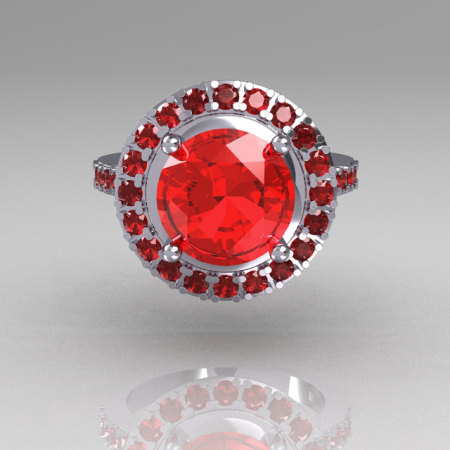Legacy Classic 10K White Gold 2.5 Carat Red Ruby Solitaire Ring R115-10WGRR-1