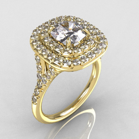 Soleste Style 10K Yellow Gold 1.25 Carat Cushion CZ Bead-Set Diamond Engagement Ring R116-10YGDCZ-1