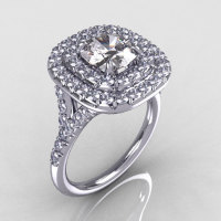 Soleste Style 950 Platinum 1.25 Carat Cushion CZ Bead-Set Diamond Engagement Ring R116-PLATDCZ-1