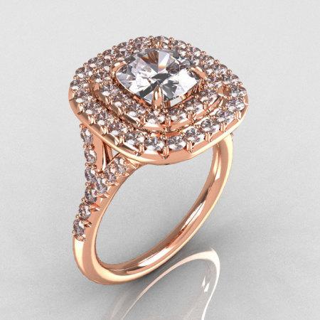 Soleste Style 14K Rose Gold 1.25 Carat Cushion CZ Bead-Set Diamond Engagement Ring R116-14RGDCZ-1