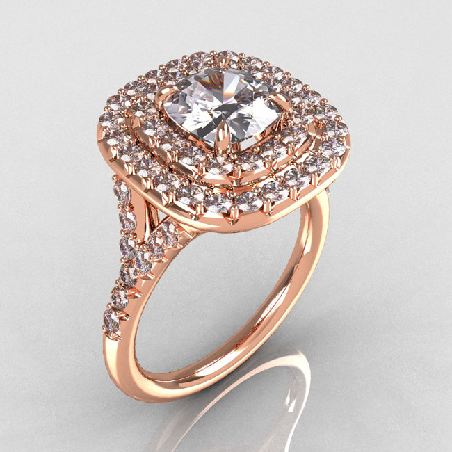 Soleste Style 14k Rose Gold 1 25 Carat Cushion Cz Bead Set
