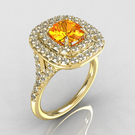 Soleste Style 14K Yellow Gold 1.25 Carat Cushion Citrine Bead-Set Diamond Engagement Ring R116-14YGDCT-1