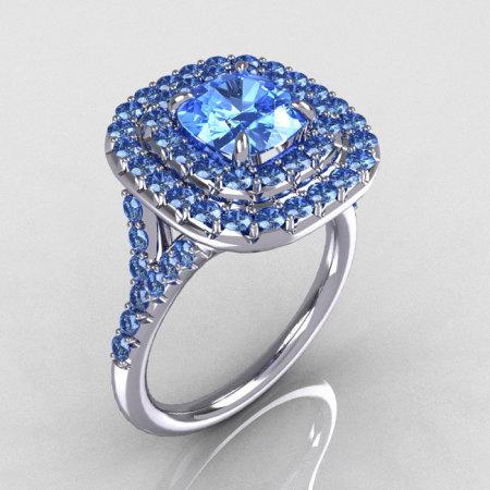 Soleste Style 10K White Gold 1.25 CT Cushion Cut Blue Topaz Bead-Set Engagement Ring R116-10WGBTT-1