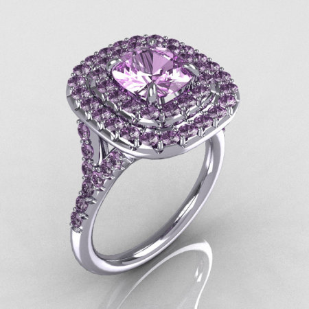 Soleste Style 14K White Gold 1.25 CT Cushion Cut Lilac Amethyst Bead-Set Engagement Ring R116-14WGLAA-1