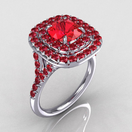 Soleste Style 18K White Gold 1.25 CT Cushion Cut Red Ruby Bead-Set Engagement Ring R116-18WGRR-1