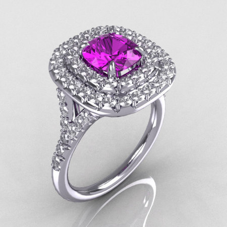 Soleste Style 10K White Gold 1.25 CT Cushion Cut Amethyst Bead-Set Diamond Engagement Ring R116-10WGDAM-1