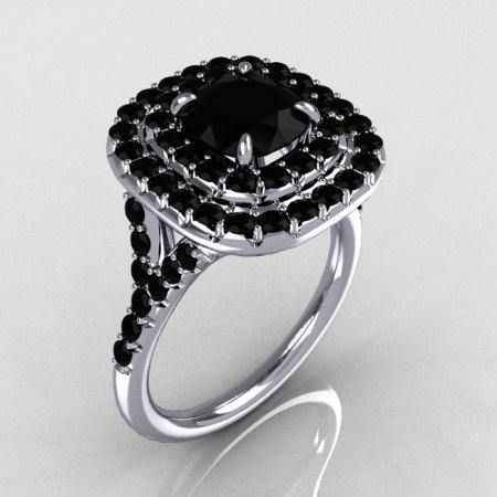 Soleste Style 14K White Gold 1.25 CT Cushion Cut Black Diamond Bead-Set Engagement Ring R116-14WGBLL-1
