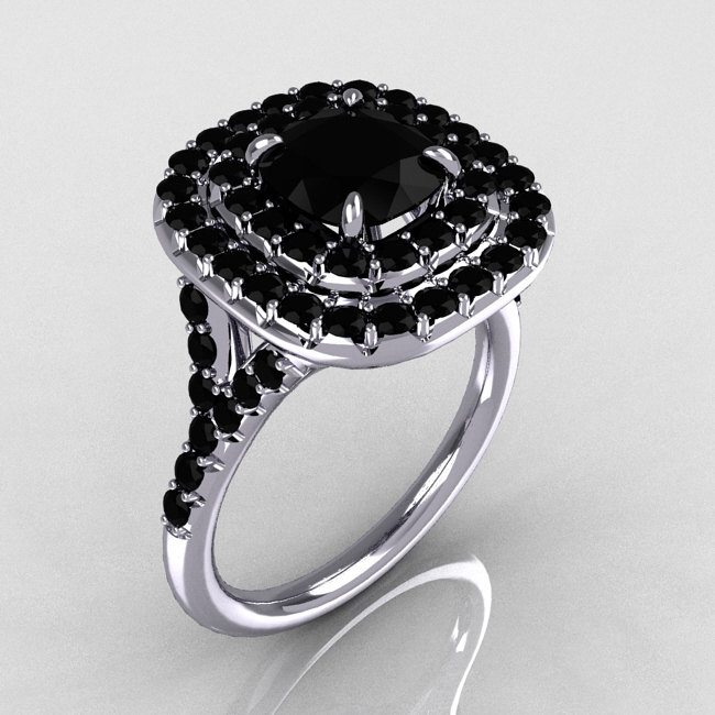 1 25ct Black Diamond Engagement Rings Set 14k White Gold: Soleste Style 14K White Gold 1.25 CT Cushion Cut Black