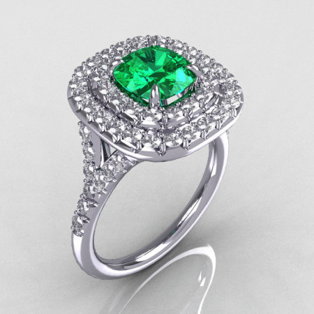 Soleste Style 18K White Gold 1.25 CT Cushion Cut Emerald Diamond Bead-Set Engagement Ring R116-18WGDEM-1