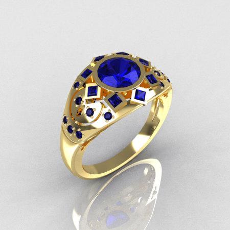 Modern Edwardian 14K Yellow Gold 1.0 Carat Round Blue Sapphire Princess Pave Ring Y258-14KYGBSS-1