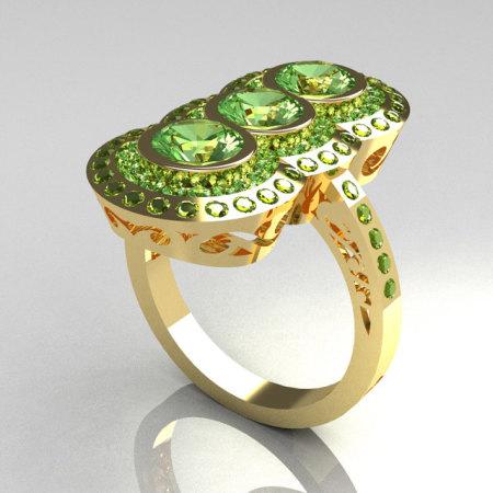 Exquisite 14K Yellow Gold 1.5 CTW Round Three Stone Peridot Engagement Ring R75-14YGPD-1