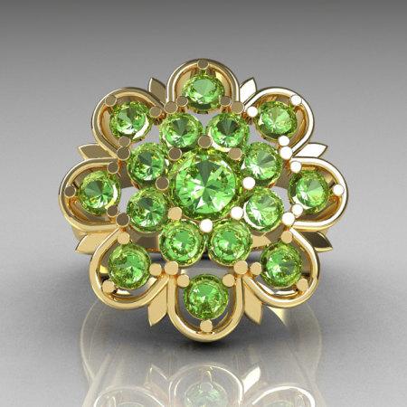 Modern Edwardian 14K Yellow Gold Green Peridot Flower Ring R101-14KYGPDD-1