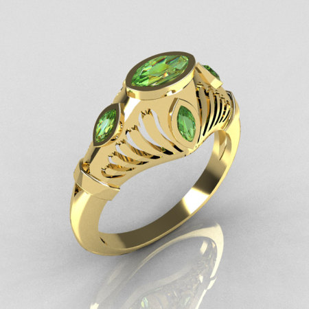 Greco Roman Classic 18K Yellow Gold Marquise Green Peridot Designer Engagement Ring Y234-18KYGGP-1