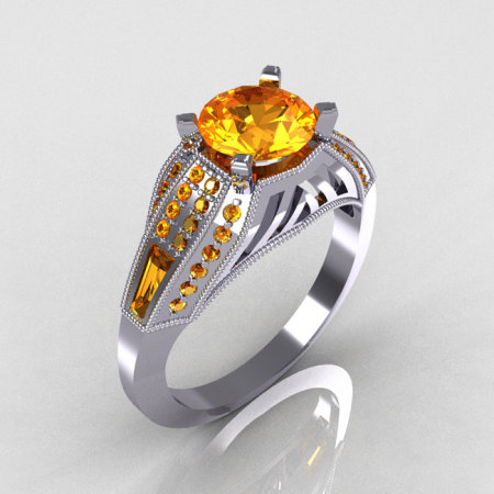 Aztec-Edwardian 10K White Gold 1.0 CT Round and Baguette Citrine Engagement Ring MR001-10WGCI-1