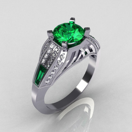 Aztec-Edwardian 18K White Gold 1.0 CT Round and Baguette Emerald Diamond Engagement Ring MR001-18WGDEM-1