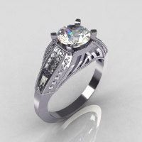 Aztec-Edwardian 18K White Gold 1.0 CT Round and Baguette Moissanite Diamond Engagement Ring MR001-18WGDMO-1