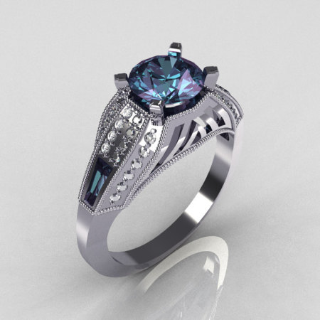 Aztec-Edwardian 10K White Gold 1.0 CT Round and Baguette Alexandrite Diamond Engagement Ring MR001-10WGDAL-1