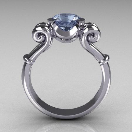 Modern Antique 950 Platinum 1.0 Carat Round Blue Topaz Designer Solitaire Ring R122-PLATBT-1