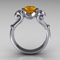 Modern Antique 10K White Gold 1.0 Carat Round Citrine Designer Solitaire Ring R122-10WGCI-1