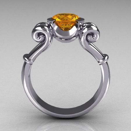 Modern Antique 10K White Gold 1.0 Carat Round Citrine Designer Solitaire Ring R122-10WGCI-1