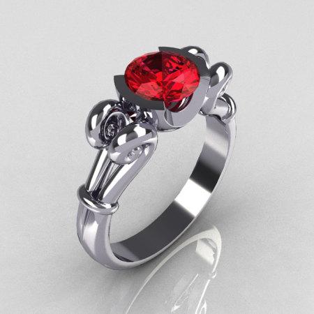 Modern Antique 14K White Gold 1.0 Carat Round Red Ruby Designer Solitaire Ring R122-14WGRR-1