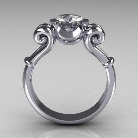 Modern Antique 14K White Gold 1.0 Carat Round White Sapphire Designer Solitaire Ring R122-14WGWS-1