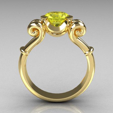 Modern Antique 10K Yellow Gold 1.0 Carat Round Yellow Topaz Designer Solitaire Ring R122-10YGYT-1