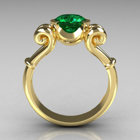 Modern Antique 14K Yellow Gold 1.0 Carat Round Emerald Designer Solitaire Ring R122-14YGEM-1