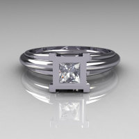 Modern Italian 10K White Gold 0.30 Carat Princess CZ Solitaire Ring R98-2-10KWGCZ-1