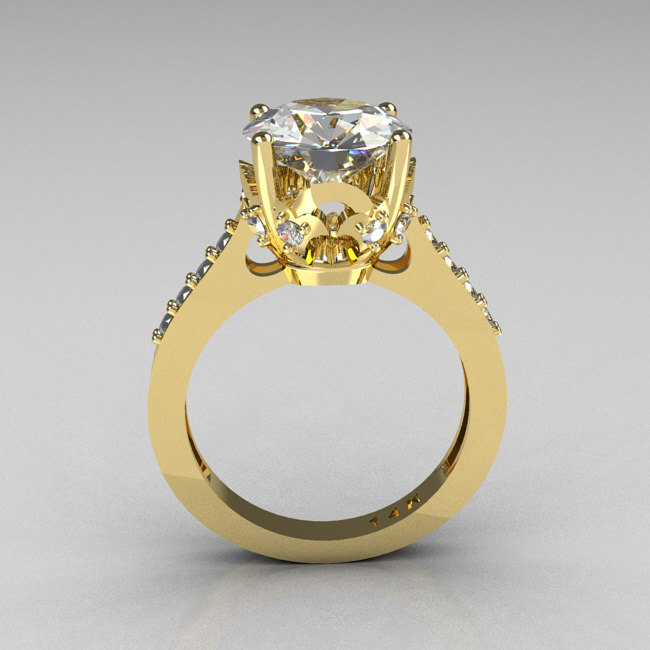 French Bridal 14k Yellow Gold 3 0 Carat Cz Diamond