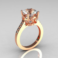 French Bridal 14K Pink Gold 3.0 Carat CZ Diamond Solitaire Wedding Ring R301-14PGDCZ-1
