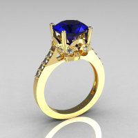 French Bridal 14K Yellow Gold 3.0 Carat Blue Sapphire Diamond Solitaire Wedding Ring R301-14YGDBS-1