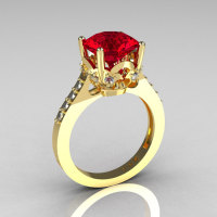 French Bridal 14K Yellow Gold 3.0 Carat Red Ruby Diamond Solitaire Wedding Ring R301-14YGDR-1