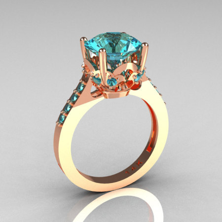 French Bridal 14K Pink Gold 3.0 Carat Aquamarine Solitaire Wedding Ring R301-14PGAQQ-1
