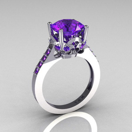 Classic Bridal 14K White Gold 3.0 Carat Purple Tanzanite Solitaire Wedding Ring R301-14WGTA-2