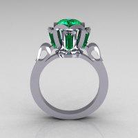 Modern Edwardian 18K White Gold 1.0 Carat Emerald Baguette Cluster Wedding Ring R305-18WGEM-1