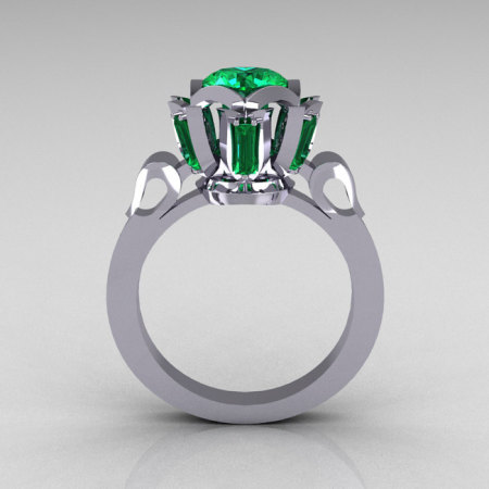 Modern Edwardian 18K White Gold 1.0 Carat Emerald Baguette Cluster Wedding Ring R305-18WGEM-1