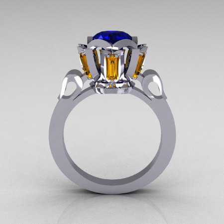 Modern Edwardian 10K White Gold 1.0 Carat Blue Yellow Sapphire Baguette Cocktail Wedding Ring R305-10WGBYS-1