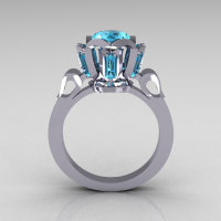 Modern Edwardian 14K White Gold 1.0 Carat Aquamarine Baguette Cluster Wedding Ring R305-14WGAQ-1