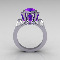 Modern Edwardian 10K White Gold 1.0 Carat Tanzanite Baguette Cluster Wedding Ring R305-10WGTA-1