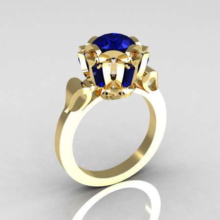 Modern Edwardian 18K Yellow Gold 1.0 Carat Blue Sapphire Baguette Cluster Wedding Ring R305-18YGBS-1