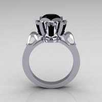 Modern Edwardian 10K White Gold 1.0 Carat Black Diamond Baguette Cluster Wedding Ring R305-10WGBD-1