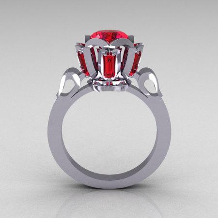 Modern Edwardian 10K White Gold 1.0 Carat Red Ruby Baguette Cluster Wedding Ring R305-10WGRR-1