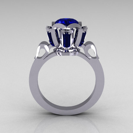 Modern Edwardian 14K White Gold 1.0 Carat Blue Sapphire Baguette Cluster Wedding Ring R305-14WGBS-1