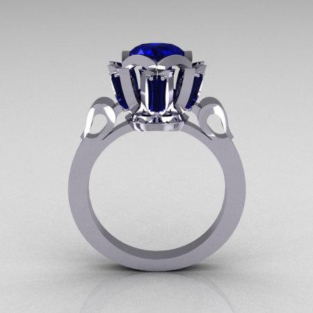 Modern Edwardian 14K White Gold 1.0 Carat Blue Sapphire Baguette Cluster Wedding Ring R305-14WGBS-1